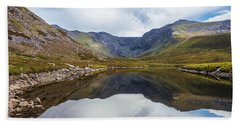 Reflection Of Macgillycuddy's Reeks And Carrauntoohil In Lough E Bath Towel by Semmick Photo