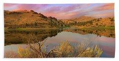 Reflection Of Scenic High Desert Landscape In Central Oregon Hand Towel
