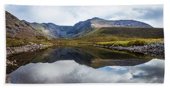 Reflection Of The Macgillycuddy's Reeks In Lough Eagher Bath Towel by Semmick Photo