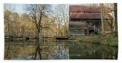 Reflection On A Grist Mill Bath Towel by George Randy Bass