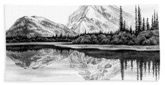 Reflections - Mountain Landscape Print Bath Towel