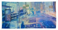 Reflections At Night In Manchester Bath Towel