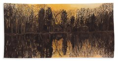 Reflections At Sunset On Bitely Lake Hand Towel