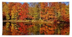 Reflections In Autumn Hand Towel by Ed Sweeney