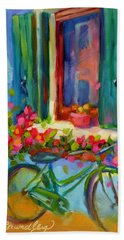 Bath Towel featuring the painting Reflections Of Burano by Chris Brandley