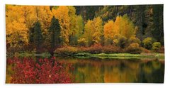 Reflections Of Fall Beauty Bath Towel by Lynn Hopwood