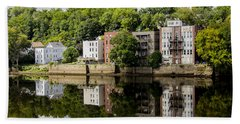 Reflections Of Haverhill On The Merrimack River Hand Towel by Betty Denise