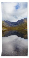 Reflections Of The Macgillycuddy's Reeks In Lough Eagher Bath Towel by Semmick Photo