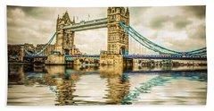 Reflections On Tower Bridge Bath Towel