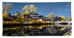 Reflections On Wesley Lake Hand Towel by Paul Seymour