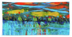 Bath Towel featuring the photograph Reflections Sky And Landscape Abstract by Haleh Mahbod
