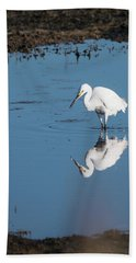 Reflections White Egret Hand Towel