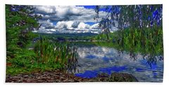 Bath Towel featuring the painting Reflective Lake by Joan Reese