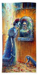 Hand Towel featuring the painting Reflejo De Frida by Heather Calderon
