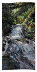 Hand Towel featuring the painting Refreshed - Rainforest Waterfall Impressionistic Painting by Karen Whitworth