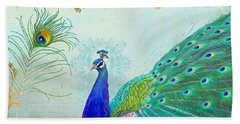 Hand Towel featuring the painting Regal Peacock 2 W Feather N Gold Leaf French Style by Audrey Jeanne Roberts