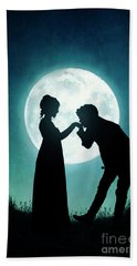 Regency Couple Silhouetted By The Full Moon Hand Towel by Lee Avison