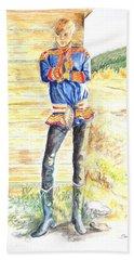 Reindeer Boy -- Portrait Of Young Laplander Man Bath Towel