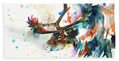Hand Towel featuring the painting Reindeer by Zaira Dzhaubaeva