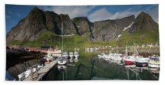 Reinebringen From Reine Port Hand Towel by Aivar Mikko