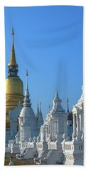 Bath Towel featuring the photograph Wat Suan Dok Reliquaries Of Northern Thai Royalty Dthcm0947  by Gerry Gantt