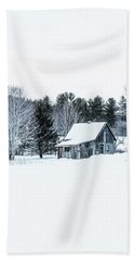 Bath Towel featuring the photograph Remote Cabin In Winter by Edward Fielding