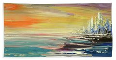 Hand Towel featuring the painting Remote Harmonies by Tatiana Iliina