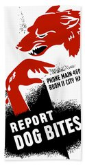 Hand Towel featuring the mixed media Report Dog Bites - Wpa by War Is Hell Store