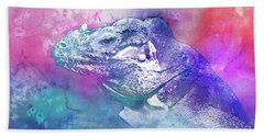 Hand Towel featuring the mixed media Reptile Profile by Jutta Maria Pusl