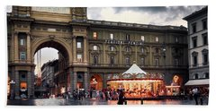 Republic Square In The City Of Florence Bath Towel