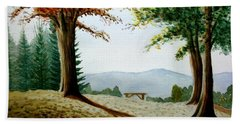 Bath Towel featuring the painting Rest Area by Stacy C Bottoms