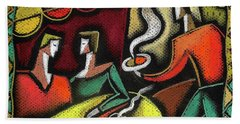 Hand Towel featuring the painting Restaurant by Leon Zernitsky