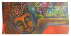 Hand Towel featuring the painting Buddha Resting Against A Colorful Backdrop by Prerna Poojara