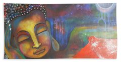 Bath Towel featuring the painting Buddha Resting Under The Full Moon  by Prerna Poojara