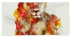 Resting Lioness In Watercolor Hand Towel