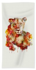 Resting Lioness In Watercolor Bath Towel
