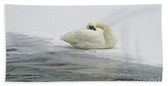 Resting Swan-signed-#1314 Hand Towel by J L Woody Wooden