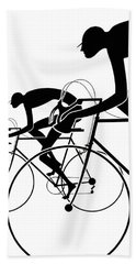 Bath Towel featuring the photograph Retro Bicycle Silhouettes 2 1986 by Padre Art