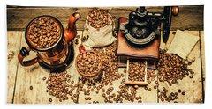 Retro Coffee Bean Mill Hand Towel