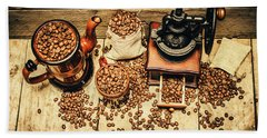 Retro Coffee Bean Mill Bath Towel by Jorgo Photography - Wall Art Gallery