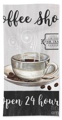 Bath Towel featuring the painting Retro Coffee Shop 1 by Debbie DeWitt