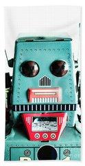 Retro Eighties Blue Robot Hand Towel