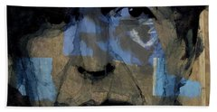 Bath Towel featuring the painting Retro- Famous Blue Raincoat  by Paul Lovering