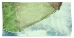 Retro Feel Beach Umbrella Blue Sky Bath Towel by Marianne Campolongo