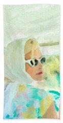 Bath Towel featuring the digital art Retro Girl - Road Trip No.1 by Serge Averbukh