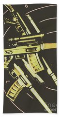 Retro Guns And Targets Bath Towel