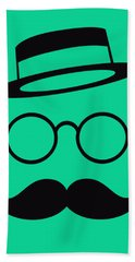 Retro Minimal Vintage Face With Moustache And Glasses Bath Towel