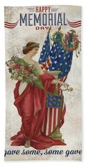 Hand Towel featuring the digital art Retro Patriotic-b by Jean Plout