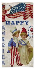 Hand Towel featuring the digital art Retro Patriotic-c by Jean Plout