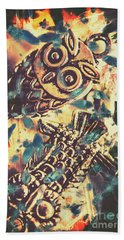Retro Pop Art Owls Under Floating Feathers Hand Towel